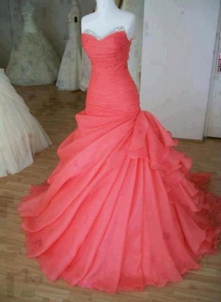 Charming Watermelon Organza Floor Length Prom Gowns, Prom Dress 2018, Formal Gowns
