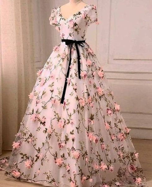 Beautiful Flowers V-neckline Short Sleeves Long Party Dress, Ball Gown Sweet 16 Dress
