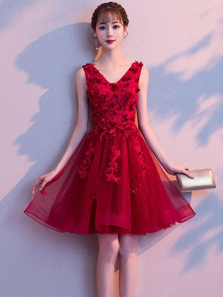 Wine Red V-neckline Tulle Party Dress with Applique, Short Homecoming Dress