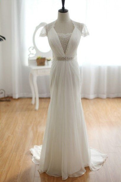 Elegant Ivory Chiffon with Beautiful Lace Long Beach Wedding Dress, Cap Sleeves Simple Bridal Gown