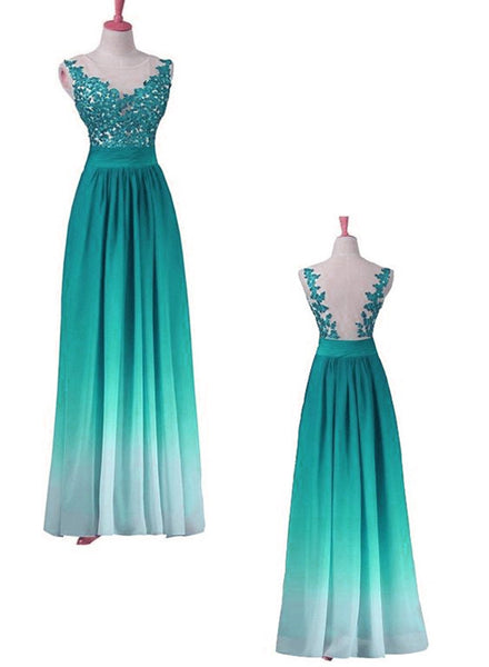 Unique Gradient Formal Dress 2019, Chiffon Long Party Dress with Lace Applique