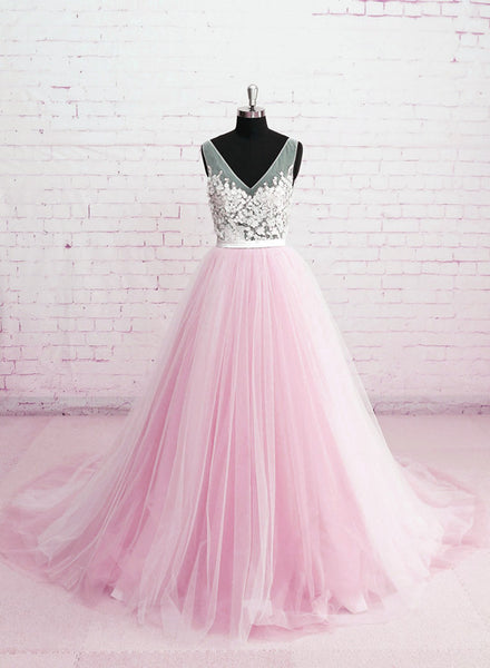 Beautiful Pink Tulle V-neckline Prom Dress 2019, Pink Wedding Party Dresses