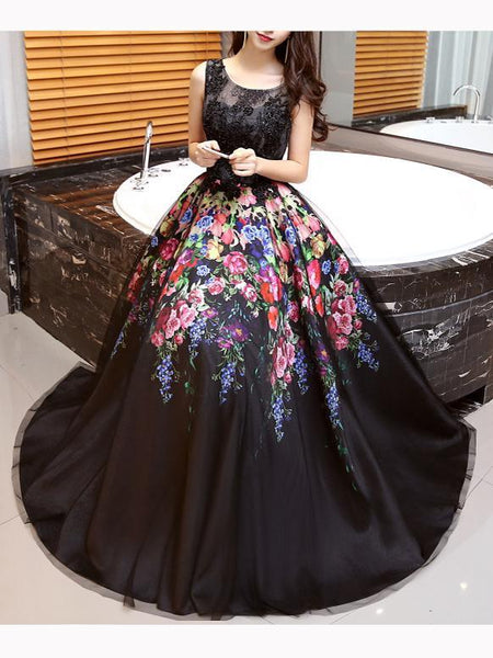 Black Satin and Lace A-line Long Party Gown, Beautiful Floral Dress
