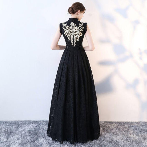 Elegant Black Long Party Dress, Formal Gowns For Occasion, Prom Dressses