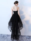 Fashionable High Low Tulle Black Party Dresses, Handmade Lace-up Formal Gowns