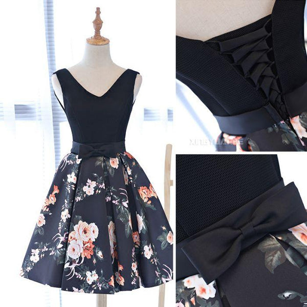 Pretty Floral Satin V-neckline Homecoming Dresses, Charming Party Dress, Prom Dress