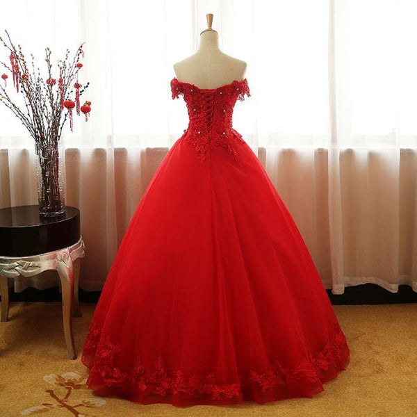 Beautiful Red Tulle Sweet 16 Gowns, Prom Gowns, Red Party Dress 2019