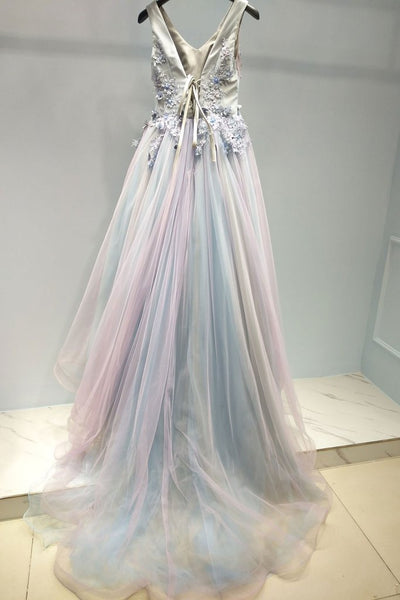 Pink and Grey Tulle V-neckline Prom Gown 2019, Tulle Party Dress 2019