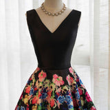 Black Satin Floral Lace-up Formal Dresses, Black Party Dress, Formal Gowns