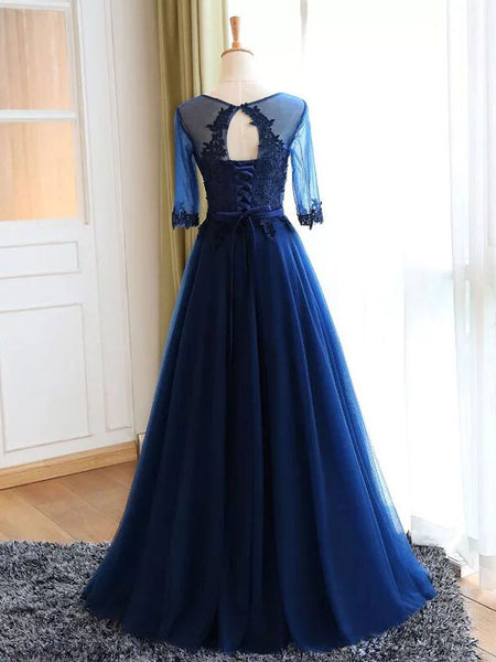 High Quality Long A-line Scoop Neck Floor-Length Tulle Appliqued Prom Dresses, Charming Formal Gowns