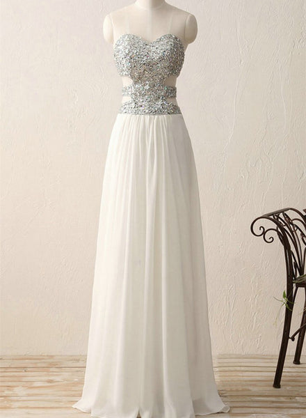 Sequins White Prom Dress, Beaded Long Party Gowns, Formal Dress 2018