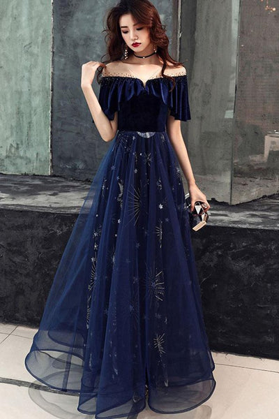 Elegant Blue Velvet Top Long Party Dress, Prom Gowns 2020