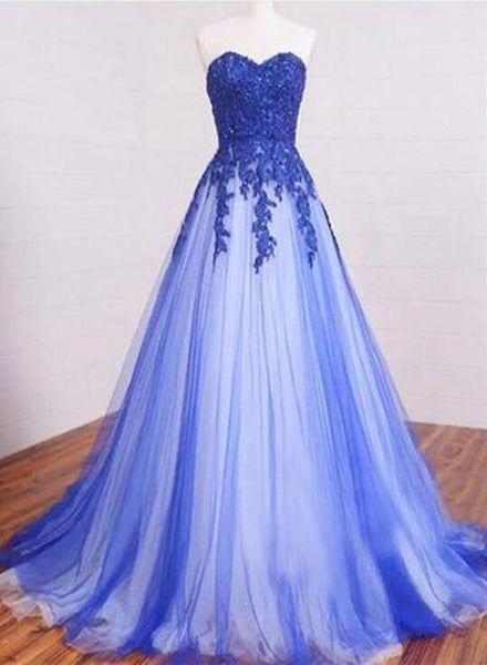 Gorgeous Blue Tulle Party Gowns, Blue Prom Dress 2018, Formal Dresses 2018