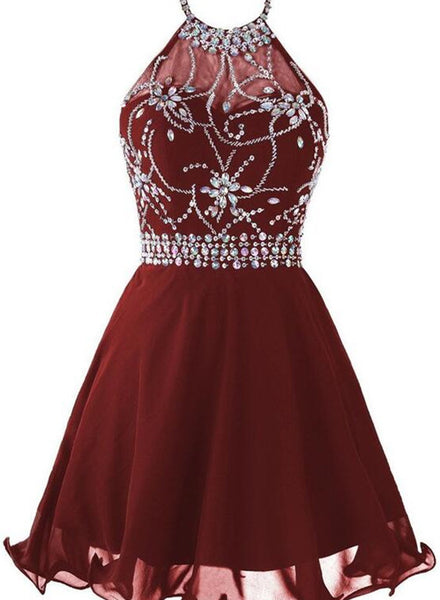 Lovely Burgundy Homecoming Dresses, Short Prom Dresses, Halter Beaded Formal Dresses
