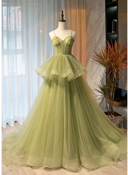 Beautiful Light Green Sweetheart Layers Princess Formal Gown, Green Tulle Long Party Dress