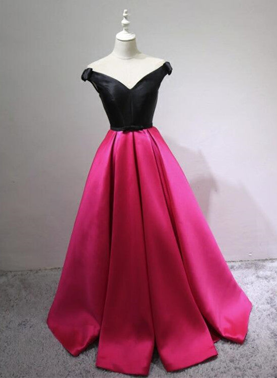 Black and Rose Red Satin V-neckline Prom Dress with Bow, Cute Gowns ...