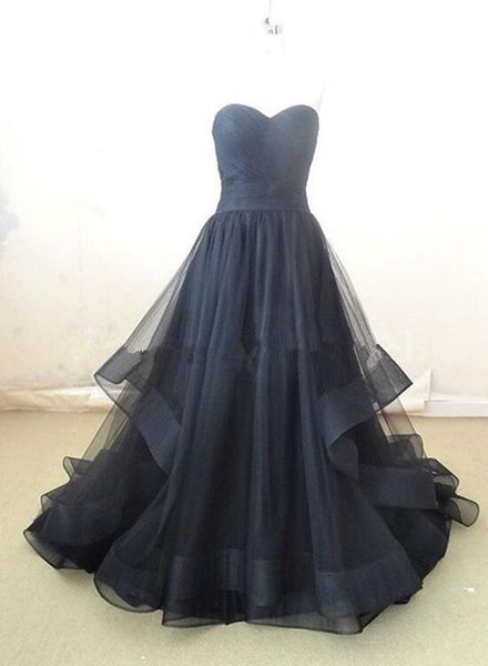 Black Sweetheart Tulle Gowns, Black Formal Dresses, Evening Dresses