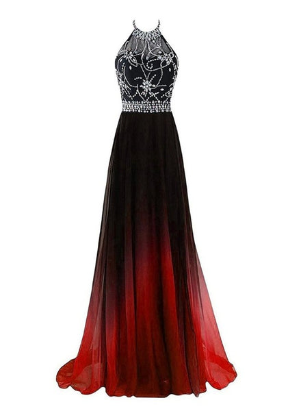 Beautiful Long Beaded Chiffon Gradient Halter Party Dress, A-line Prom Dress