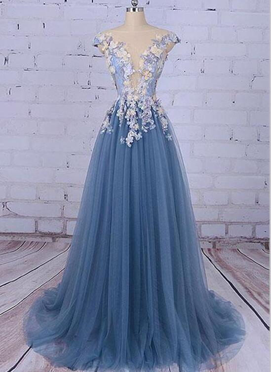 Charming Blue Floral Tulle Prom Dresses, Blue Formal Gowns, Tulle ...