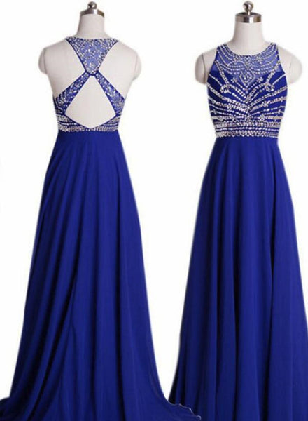 Pretty Crew Neck Beaded Back Prom Dress-Floor-length Chiffon Royal Blue Evening Dress, Prom Dresses 2018