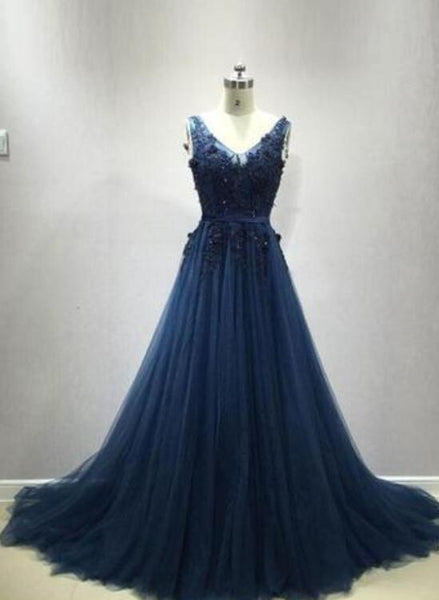 Dark Blue V Back Tulle Prom Gowns, Party Dresses, Formal Gowns 2018