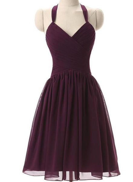 Simple Dark Purple Short Bridesmaid Dresses, Purple Wedding Party Dresses, Halter Bridesmaid Dresses 2018