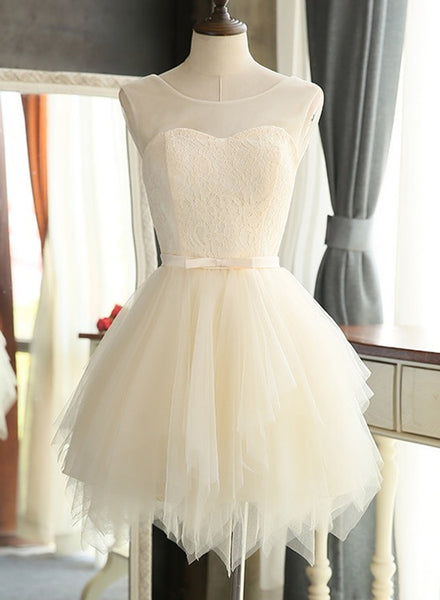 Lovely Light Champagne Short Tulle Party Dress 2018, Cute Prom Dress, Homecoming Dress for Teens