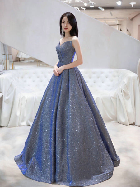 Charming V-neckline Sequins Long Simple Party Dresss, New Shiny Prom Dress Formal Dress