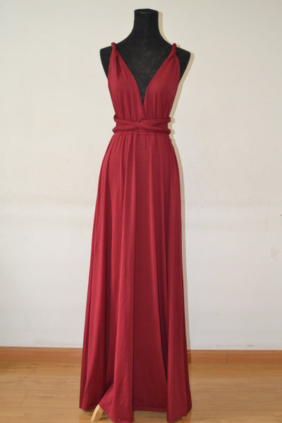 New Spandex Wine Red Multi Way Bridesmaid Dress, Women Summer Dress,Convertible Dresses