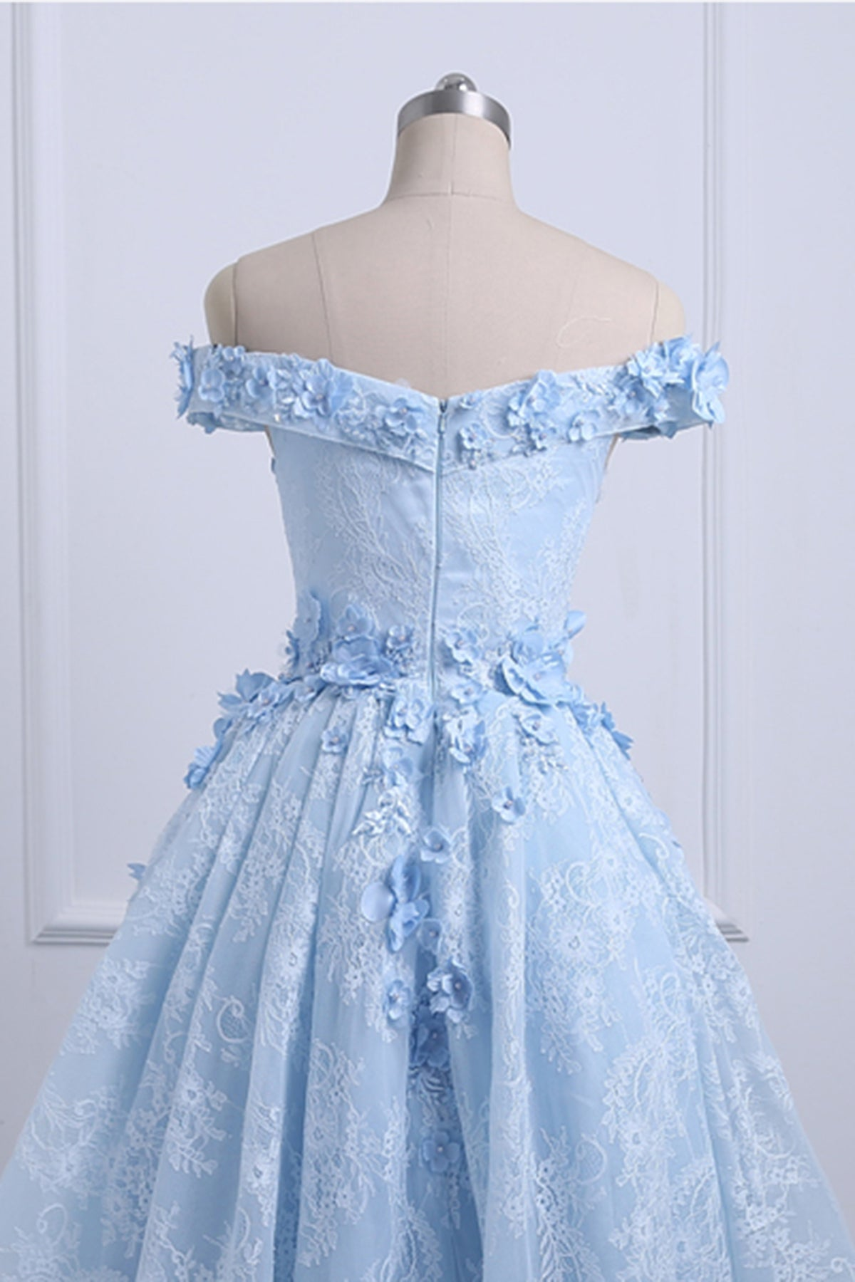 Ice Blue Off Shoulder High Low Party Dresses, Handmade Formal Gowns ...