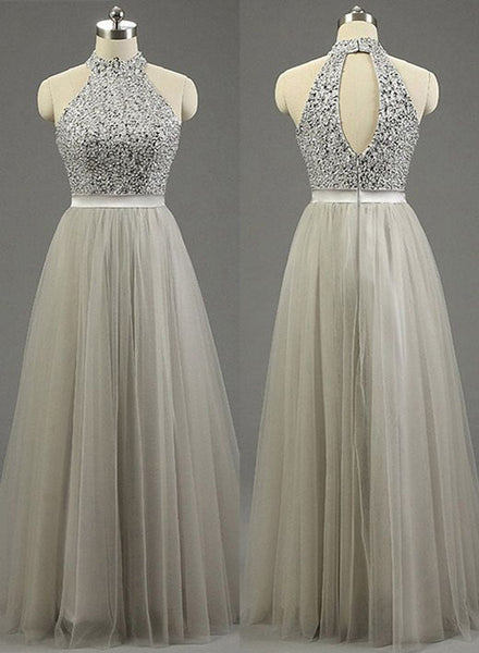 Sequins Grey Long Prom Dress, Charming Party Dresses, High Neck Formal Gowns