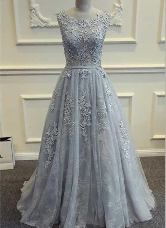Grey Prom Dress 2018, Tulle and Lace Evening Gowns, Formal Gowns ...