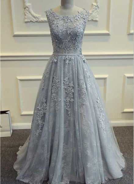 Grey Prom Dress 2018, Tulle and Lace Evening Gowns, Formal Gowns