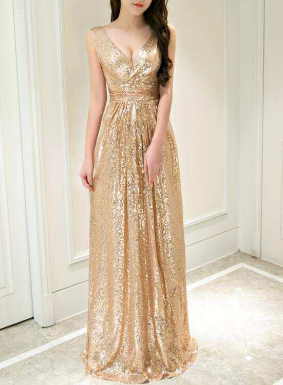Gold Sequins V-neckline A-line Prom Dress 2018, Sequins Junior Prom ...