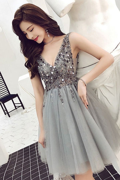 Fashionable Grey Beaded Tulle V-neckline Short Party Dress, Grey Homecoming Dress