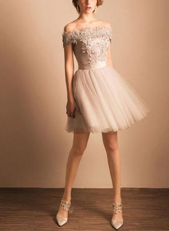 Lovely Short Grey Homecoming Dresses with Off Shoulder, Sweet Prom ...
