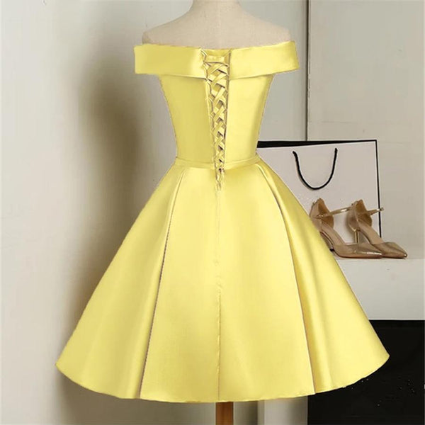 Custom Yellow Satin Off Shoulder Short Party Dress for Letty