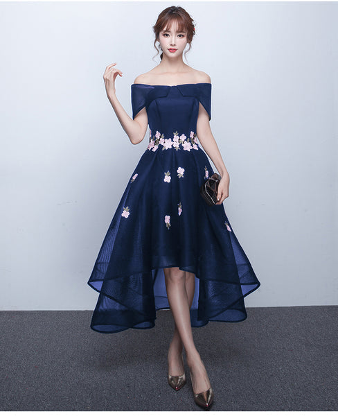 Chic Off The Shoulder Navy Blue High Low Prom Dresses, Blue Homecoming Dress