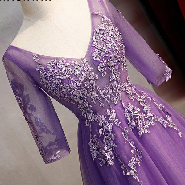 Purple  V Neck Tulle Long Party Dress with Sleeves, Prom Dress 2020