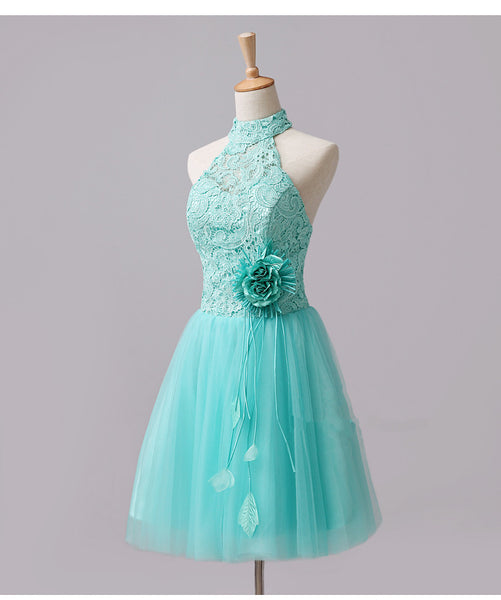 Cute Mint Halter Lace Flowers Homecoming Dresses, Short Prom Dress Graduation Dress