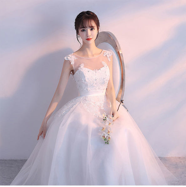 Charming White Tulle Ball Gown Wedding Dress, White Prom Dress