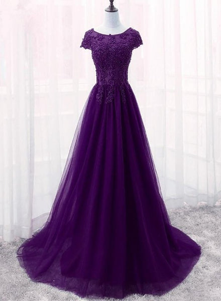 purple long prom ress