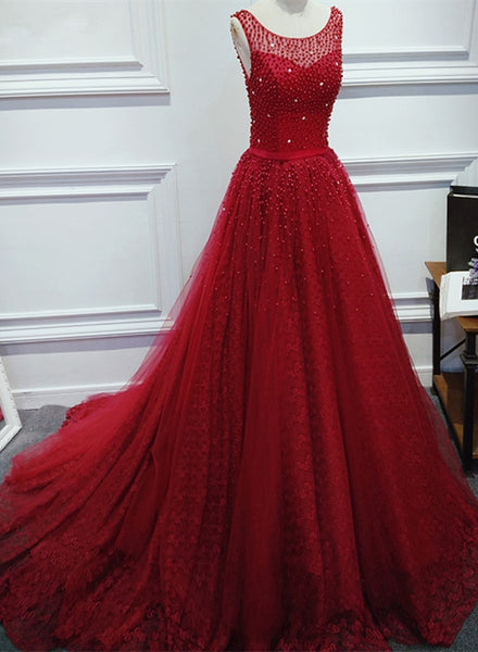 Charming Lace and Tulle Beaded Wine Red Formal Gown, V Back Long Prom Dresses 2019