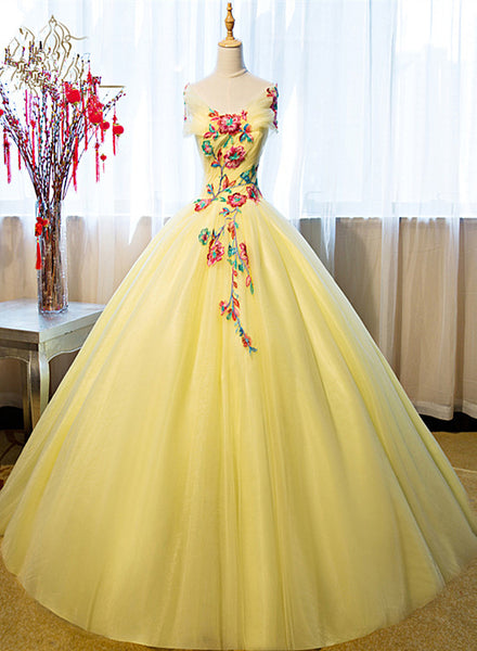 Gorgeous Yellow Tulle Ball Gown Sweet 16 Dress, Yellow Quinceanera Dress
