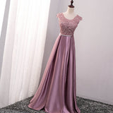 Pink Satin with Lace Applique Long Bridesmaid Dress, Pink A-line Simple Prom Dress