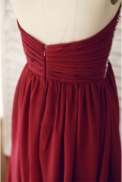 Wine Red Chiffon Beaded Sweetheart Floor Length Formal Dress, Charming Junior Prom Dress