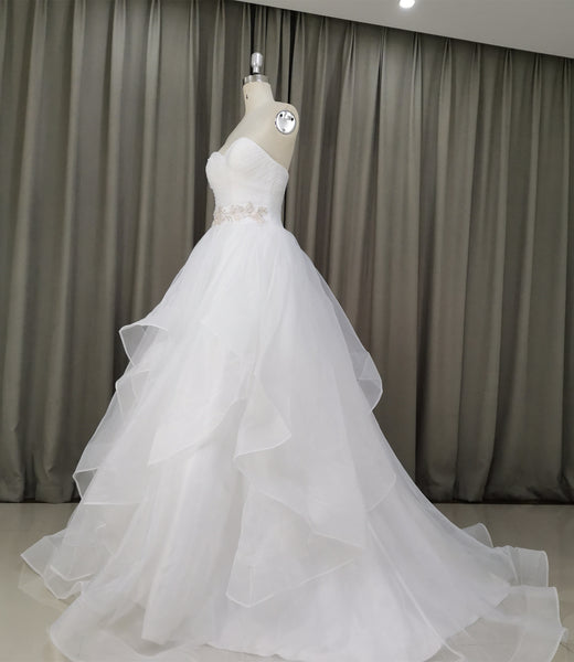 Beautiful Handmade Sweetheart Ball Gown Wedding Dress, Beach Wedding Dresses with Lace Applique