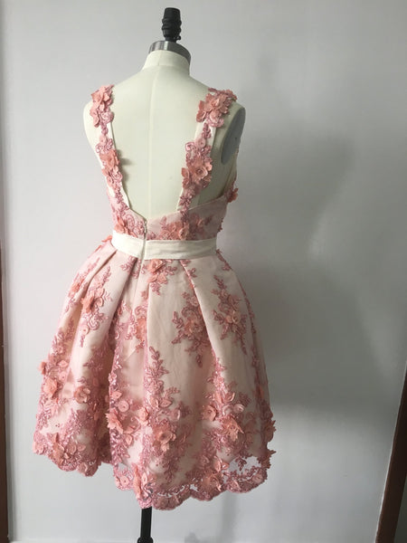 Lovely Short Lace Appliques Hand-Made Flower Homecoming Dress, Cute Prom Dress