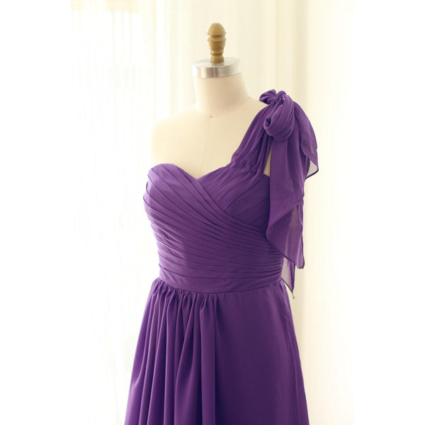 Simple Purple Chiffon Sweetheart Floor Length Bridesmaid Dress, Simple Bridesmaid Dress 2019