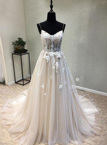 Ivory Tulle and Lace Floral Wedding Gowns, Romantic Bridal Gowns, Wedding Dresses, Prom Dress